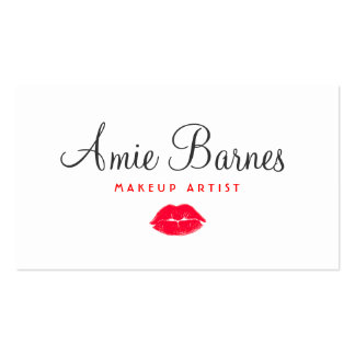 Retro Red Kissing Lips Makeup Artist White Beauty Pack Of Standard Business Cards