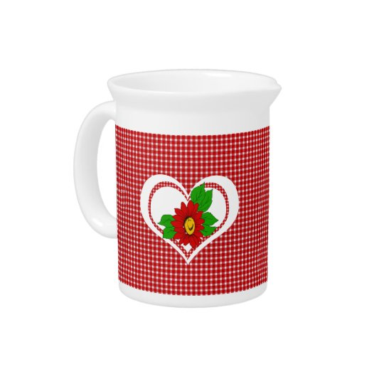 Retro Red Kitchen Gingham with Hearts and Flowers Pitcher