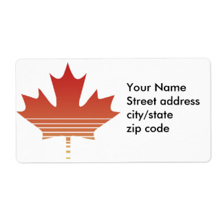 Retro Red Maple Leaf Shipping Label
