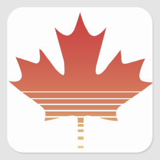 Retro Red Maple Leaf Square Sticker