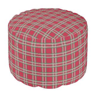 Retro Red Plaid Pillow Pouf Ottoman Footstool