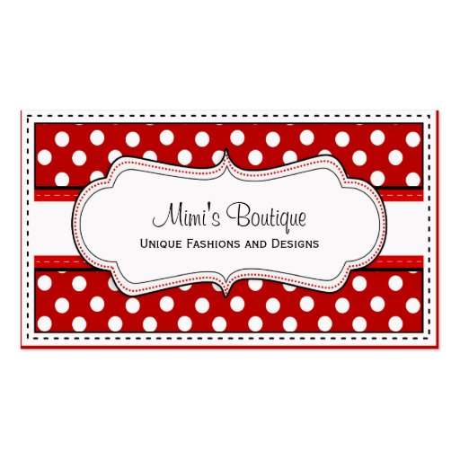 Retro red polka dot business cards zazzle for Polka dot business card templates free