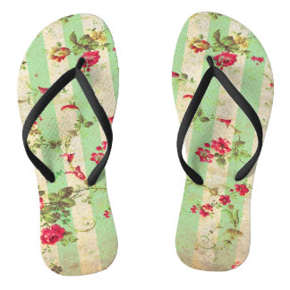 RETRO RED ROSE Slim Strap FlipFlops Thongs