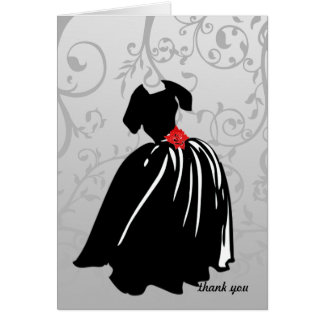 Retro Red Rose Thank You Card