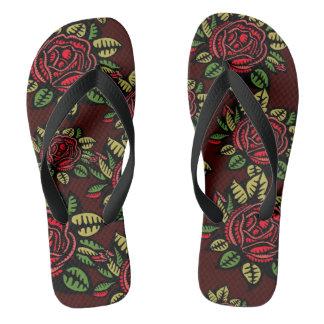 retro red roses Flip flops