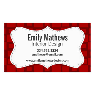 Retro Red Square Pattern Business Card