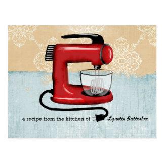 Retro red stand mixer recipe cards