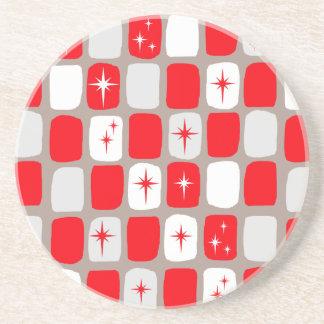 Retro Red Starbursts Sandstone Drink Coaster