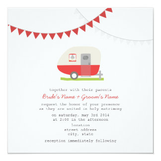 Retro Red Trailer Wedding Invite