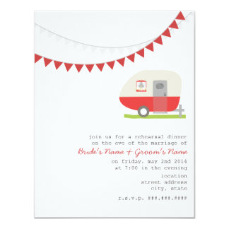 Retro Red Trailer Wedding Rehearsal Dinner Card