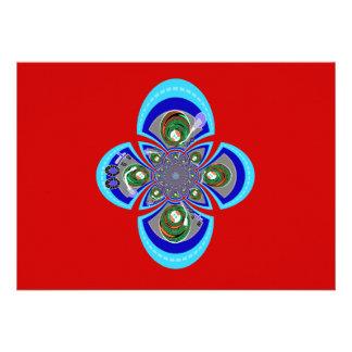 Retro red white blue turntable pattern custom invitations