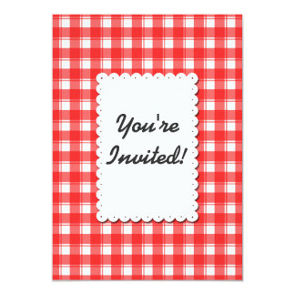 Retro Red White Plaid Custom Invitation