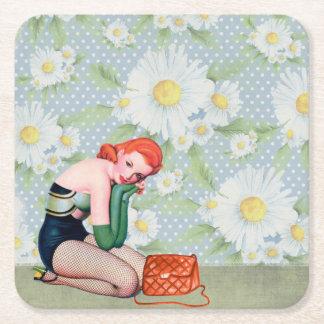 Retro Redhead Pin-up Girl Square Coasters