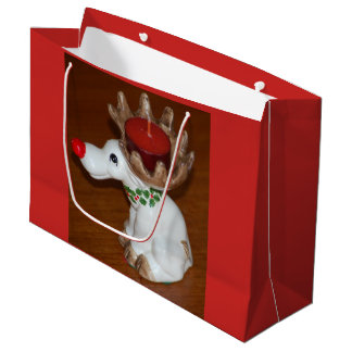 Retro Reindeer Candle for Christmas Large Gift Bag