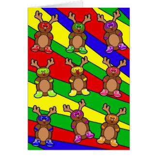 Retro reindeer posse greeting card