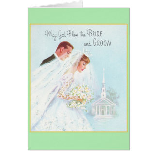 Retro Religious Wedding Greeting Card