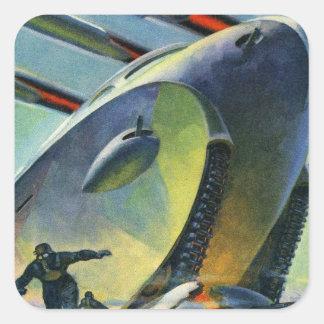 Rétro réservoir superbe vintage de Sci fi WWI de Sticker Carré