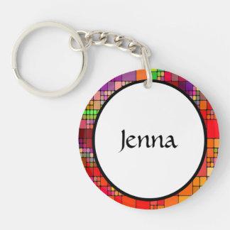 Rétro résumé coloré moderne porte-clé rond en acrylique une face