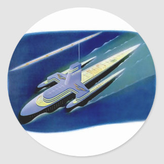 Rétro revêtement d'océan vintage de Sci fi de Sticker Rond