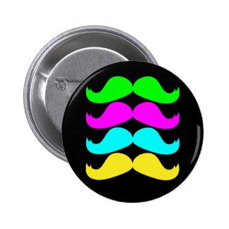 Retro RGB Fluo Moustaches 2 Inch Round Button