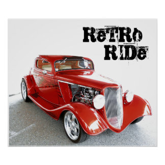 Retro Ride  - Antique Classic Red Car Poster