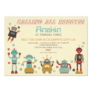 Retro Robot Party Birthday Invitation