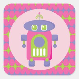 Rétro robot rose, pourpre et vert avec des étoiles sticker carré