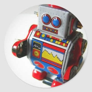 Retro Robot Round Sticker