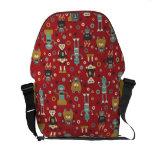 Retro Robots (Red) Messenger Bag