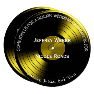 Retro Rock n Roll Vinyl Record Wedding Invitation