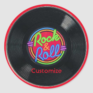 Retro Rock & Roll Vinyl Stickers