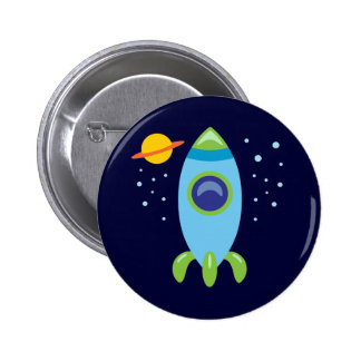 Retro Rocket 2 Inch Round Button