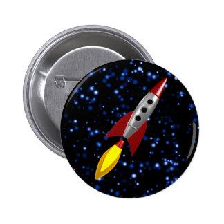 Retro Rocket 3d 2 Inch Round Button