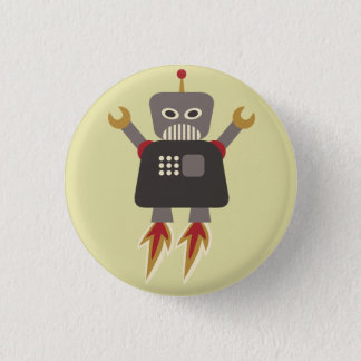 Retro Rocket Cartoon Robot Flair 1 Inch Round Button