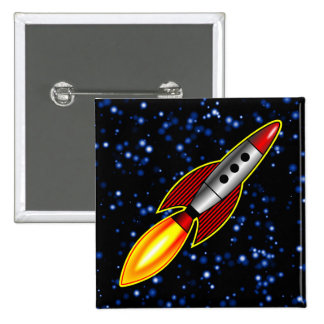 Retro Rocket - Customized 2 Inch Square Button