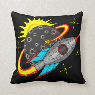 Retro Rocket in Space Throw Pillow