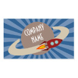 Retro Rocket & Planet Business Card