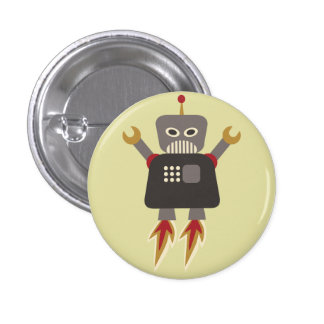 Retro Rocket Robot Flair Button