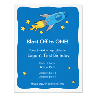 Retro Rocket Ship Blast Off Birthday Invitation