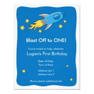 Retro Rocket Ship Blast Off Birthday Invitation