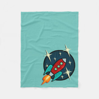 RETRO ROCKET SHIP FLEECE BLANKET