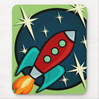 RETRO ROCKET SHIP MOUSE PAD