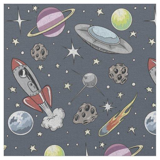 Retro Rockets Fabric