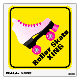 Retro Roller Skate Crossing Sign Wall Sticker