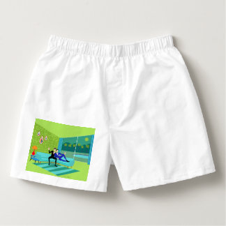 Retro Romantic Gay Couple Cotton Boxers
