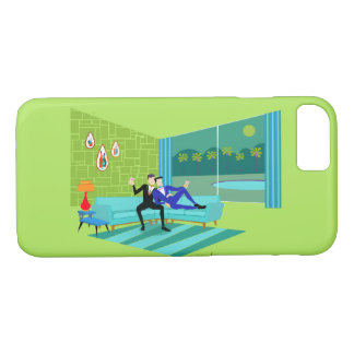 Retro Romantic Gay Couple iPhone Case