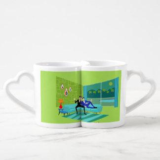 Retro Romantic Gay Couple Lovers' Mugs