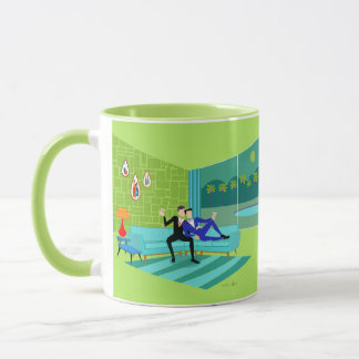 Retro Romantic Gay Couple Mug