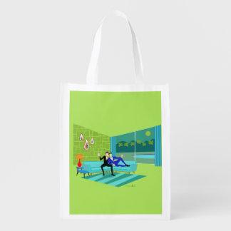 Retro Romantic Gay Couple Reusable Grocery Bag