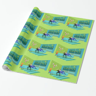 Retro Romantic Gay Couple Wrapping Paper